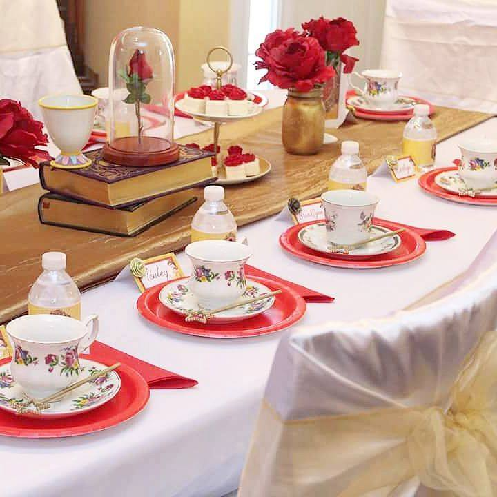 Belle Beauty And The Beast Tea Party Decor GirlyGirl Partea's Delectable Belle Party Decoration Ideas